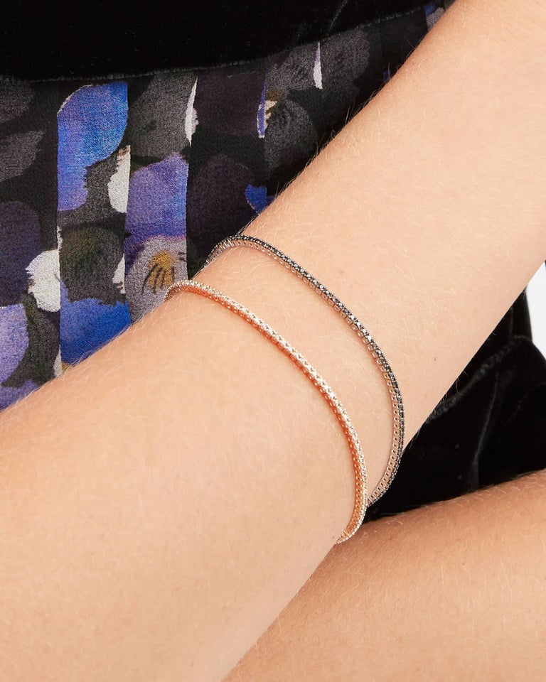 Contemporary Thin Pink Gold and Black Diamond Infinite Tennis Bracelet For Sale