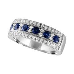 Nasbro Sapphire and Diamond 14 Karat White Gold Band Ring