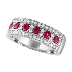 Nasbro Ruby and Diamond 14 Karat White Gold Band Ring
