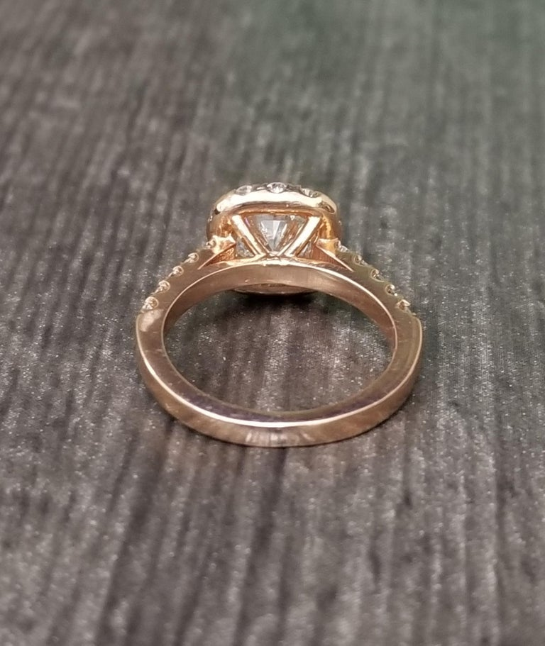 Radiant Cut .97 Carat Radiant Diamond in Halo Ring For Sale