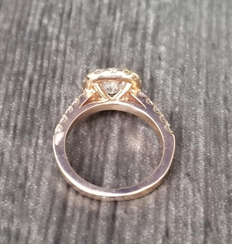 .97 Carat Radiant Diamond in Halo Ring In New Condition For Sale In Los Angeles, CA