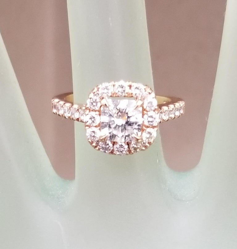 Women's or Men's .97 Carat Radiant Diamond in Halo Ring For Sale