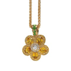 18 Karat Yellow Gold and Yellow Sapphire Flower Power Pendant