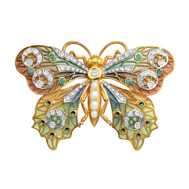 Masriera 18 Karat Yellow Gold Enamel and Diamond Butterfly Brooch