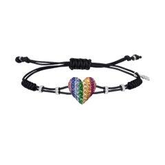 Pippo Perez 18 Karat Gold Multi-Color Sapphire, Ruby, Tsavorite Heart Bracelet
