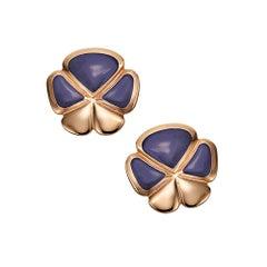 Ambrosi Exclusive 18 Karat Rose Gold, Lavender Jade Clover Earrings
