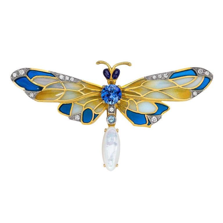 Masriera 18 Karat Gold Enamel, Diamond and Precious Stone Dragonfly Brooch
