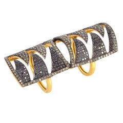 Meghna Jewels Interlocking Claw Ring in Black Diamonds and Champagne Diamonds