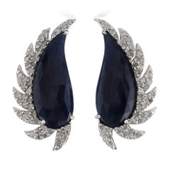 Meghna Jewels Claw Half Moon Studs Blue Sapphire and Diamonds