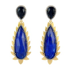 Flame Drop Earrings Lapis, Diamonds and Black Onyx