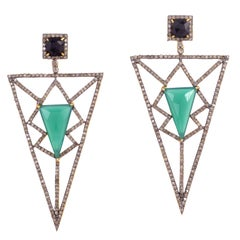 Pyramid Earring Green Onyx and Diamonds