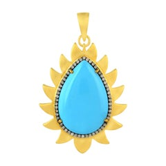 Meghna Jewels Flame Pendant Turquoise and Diamonds