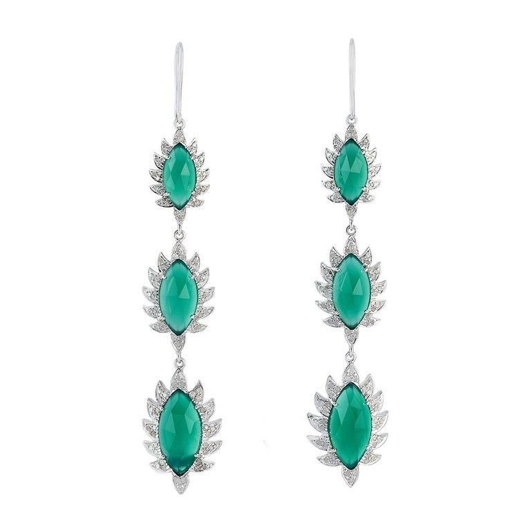 Claw Triple Drop Marquise Earrings Green Chalcedony and Diamonds