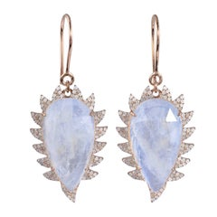 Claw Drop Earrings Rainbow Moonstone and Diamonds