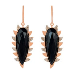 Meghna Jewels Claw Drop Earrings Black Onyx and Alt Diamonds