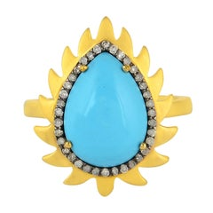 Meghna Jewels Flame Ring Turquoise and Diamonds