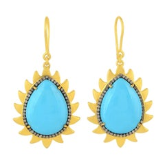 Meghna Jewels Flame Earrings Turquoise and Diamonds