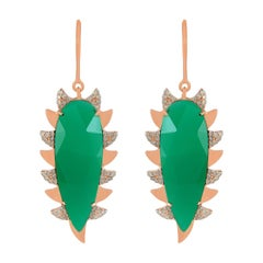 Meghna Jewels Claw Drop Earrings Green Onyx and Alt Diamonds