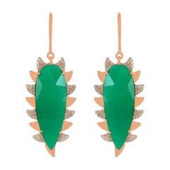Meghna Jewels Claw Drop Earrings Green Onyx and Alt Diamonds