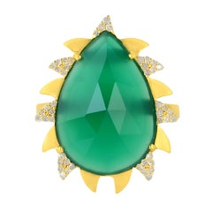 Meghna Jewels Claw Ring Green Onyx and Alt Diamonds