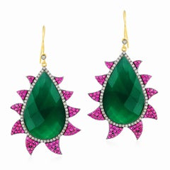 Meghna Jewels Claw Earrings Rubies, Green Onyx and Diamonds