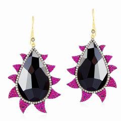Meghna Jewels Claw Earrings Rubies, Black Onyx and Diamonds