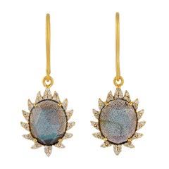 Meghna Jewels Claw Single Drop Earrings Labradorite and Diamonds