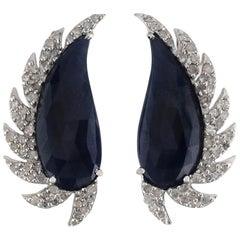 Meghna Jewels Claw Half Moon Black Onyx and Diamonds
