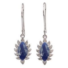 Meghna Jewels Claw Single Drop Blue Sapphire Marquise Earrings and Diamonds