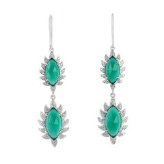 Meghna Jewels Claw Double Drop Earrings Green Onyx and Diamonds