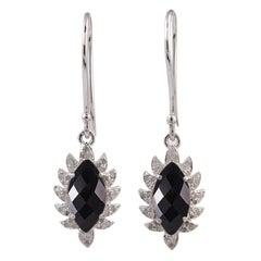 Meghna Jewels Claw Single Drop Black Onyx Marquise Earrings and Diamonds