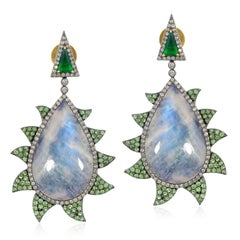 Meghna Jewels Claw Earrings Moonstone, Tsavorite, Green Onyx and Diamonds