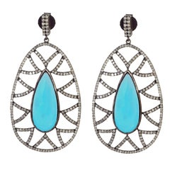 Meghna Jewels Bora Bora Statement Earrings Turquoise and Diamonds