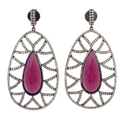 Meghna Jewels Bora Bora Statement Earrings Rubelite and Diamonds