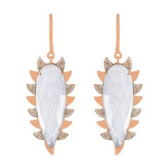 Meghna Jewels Claw Rainbow Moonstone Alt Diamonds Drop Earrings