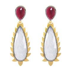 Meghna Jewels Flame Rainbow Moonstone Rubelite Diamonds Drop Earrings