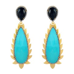 Meghna Jewels Flame Turquoise Black Onyx Diamonds Drop Earrings