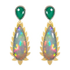 Meghna Jewels Flame Opal Green Onyx Diamonds Drop Earrings