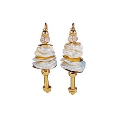 Misani Earrings with kashi pearls and yellow gold 18k