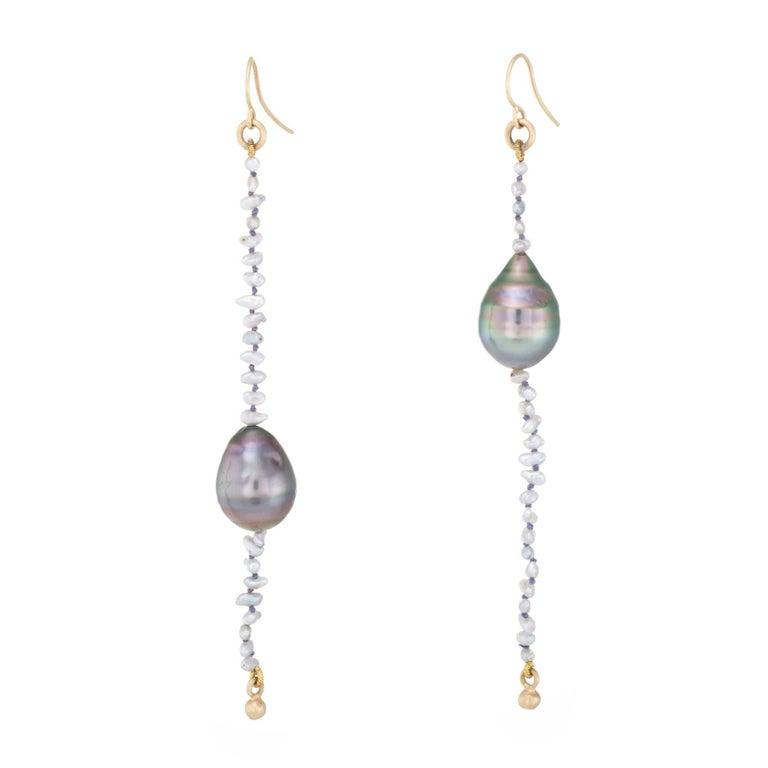 L Frank Long Baroque Pearl Drop Earrings