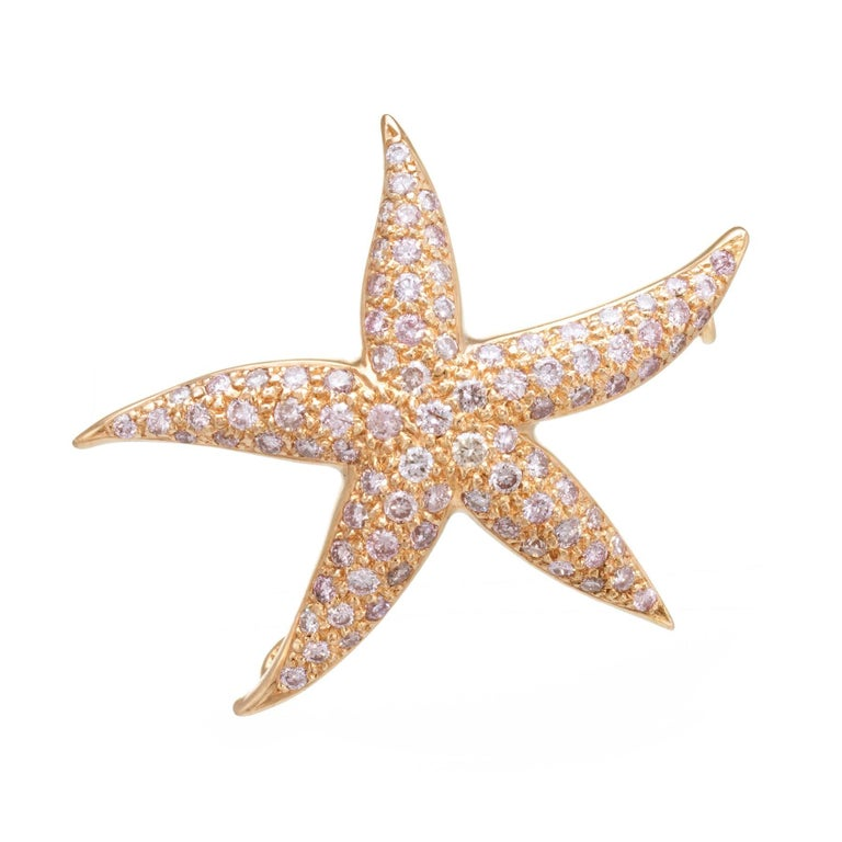 1.80 Carat Pink Diamond Starfish 18 Karat Rose Gold Pendant Brooch