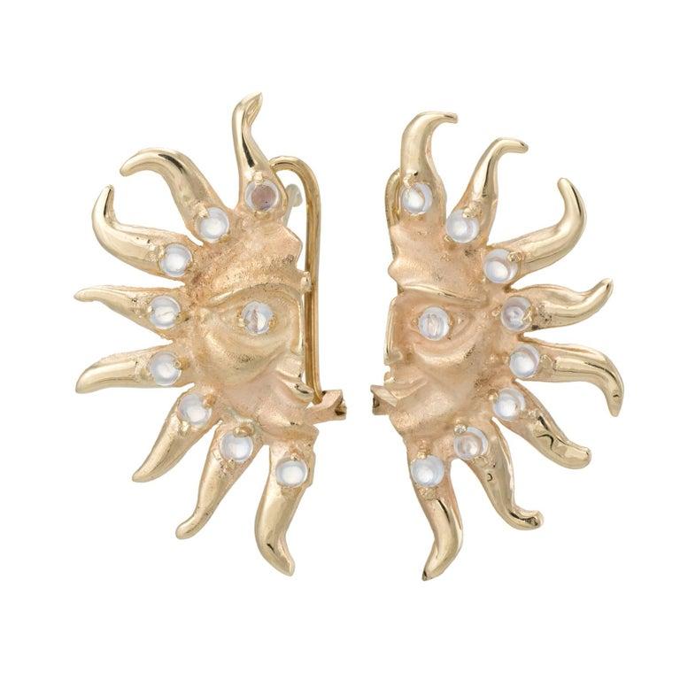 Moonstone Moon and Sun 14 Karat Yellow Gold Earrings