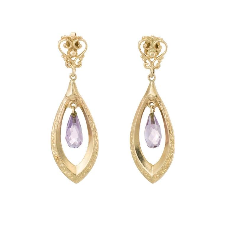 Amethyst Dangle Earrings 14 Karat Yellow Gold