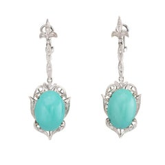 Fleur-de-Lis Turquoise Diamond Dangle Earrings Vintage 14 Karat White Gold