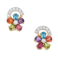 Rainbow Gemstone Diamond Flower Earrings Vintage 18 Karat Yellow Gold