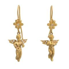 Winged Angel Diamond Drop Earrings Estate 14 Karat Yellow Gold