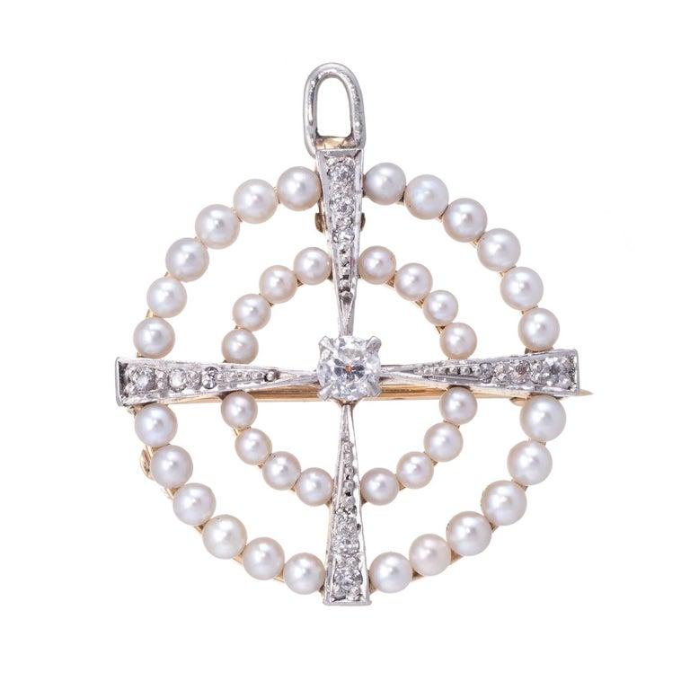 Vintage Art Deco Old Mine Cut Diamond Cultured Pearl Circle Pendant and Brooch