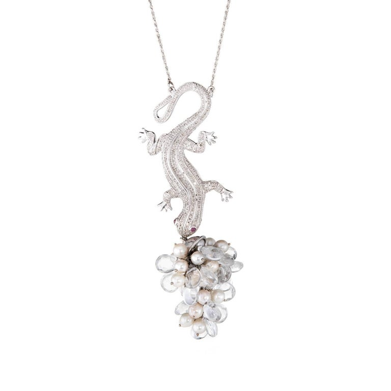 Diamond Lizard Drop Necklace Vintage 14 Karat White Gold Rock Crystal