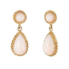 Angel Skin Coral Drop Earrings Vintage 14 Karat Yellow Gold