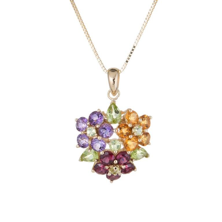 Rainbow Flower Cluster Pendant Necklace Vintage Peridot Amethyst 14 Karat Gold